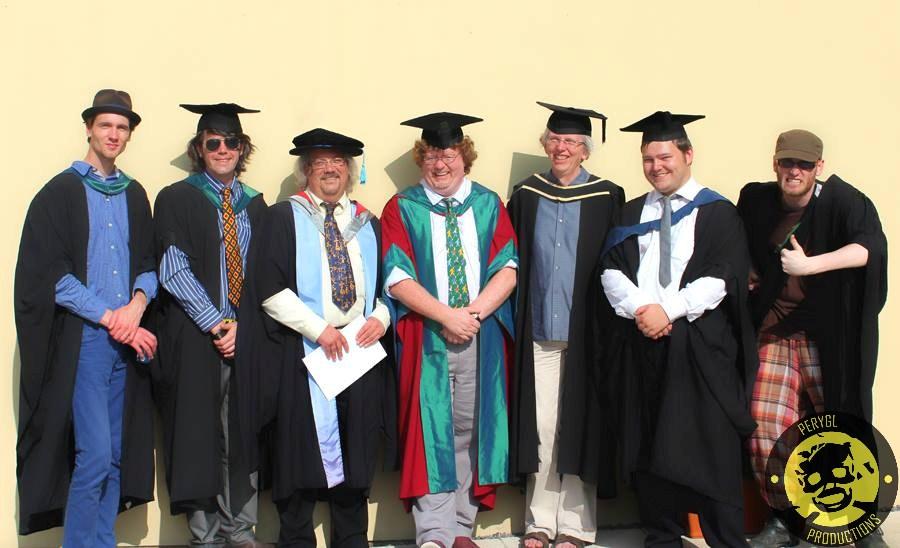 From Left to right: Rokas Baniunas BA (Hons), Greg Fisher BA (Hons), Dr Roberts Shail, Dr Steven Gerrard, Trevor Harris, David Roberts BA (Hons) and Alex Cook BA (Hons)