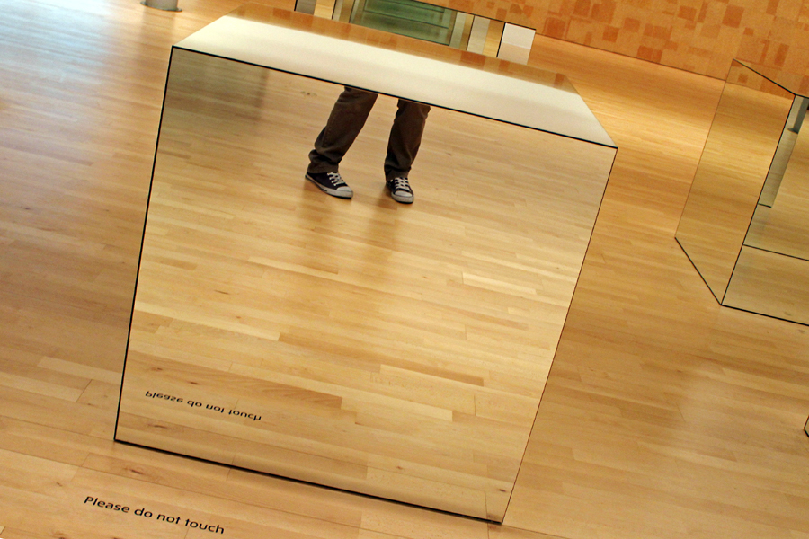'Untitled' Mirror glass and wood. A highly engrossing work by Robert Morris; four large cubes of pristine mirror glass, positioned symmetrically to one another. 1967/71