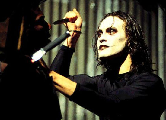 """""""Victims... aren't we all!"""" Spooky anti-hero Eric Draven turns one of the bad guys into a pin cushion, taking revenge for the death of his beloved Shelley."""