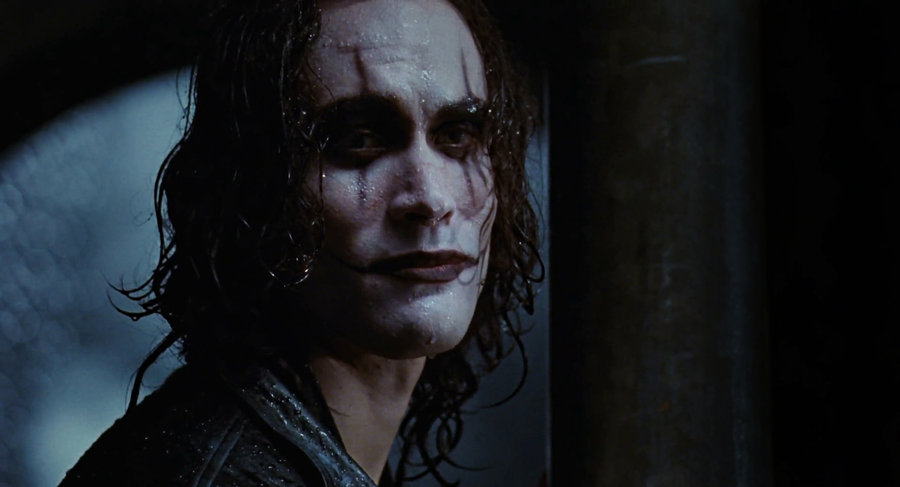 Painted like a sad mime, Eric Draven (played by Brandon Lee) invokes a feeling of the expressionism of early German cinema and serves as a pre-cursor to Heath Ledger's appearance as The Joker.