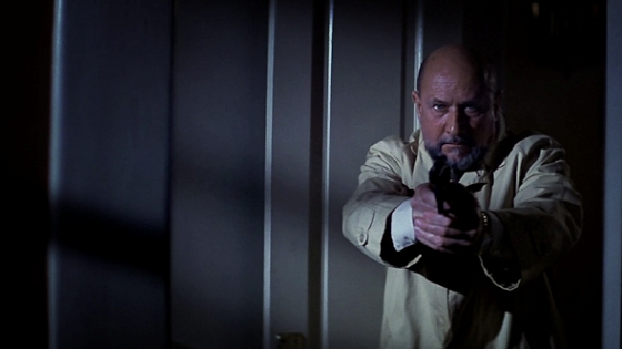 Paranoid, scared and constantly on edge; Dr. Loomis is quick to draw his gun, suspecting Myers will jump out at any moment.