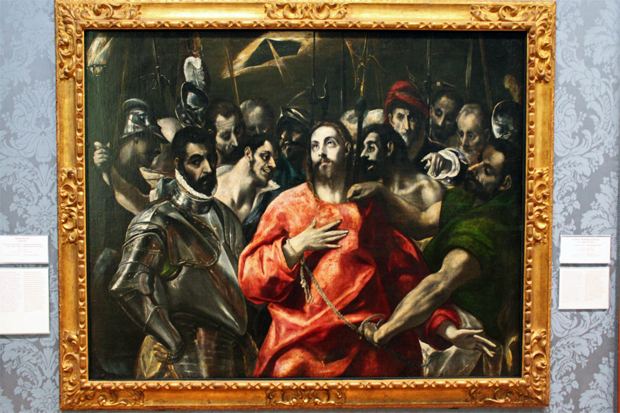 This oil on canvas by Giuseppe Cesari entitled 'The Agony in the Garden' is dated 1590 and chronicles Christ's arrest in the Garden of Gethsemane.