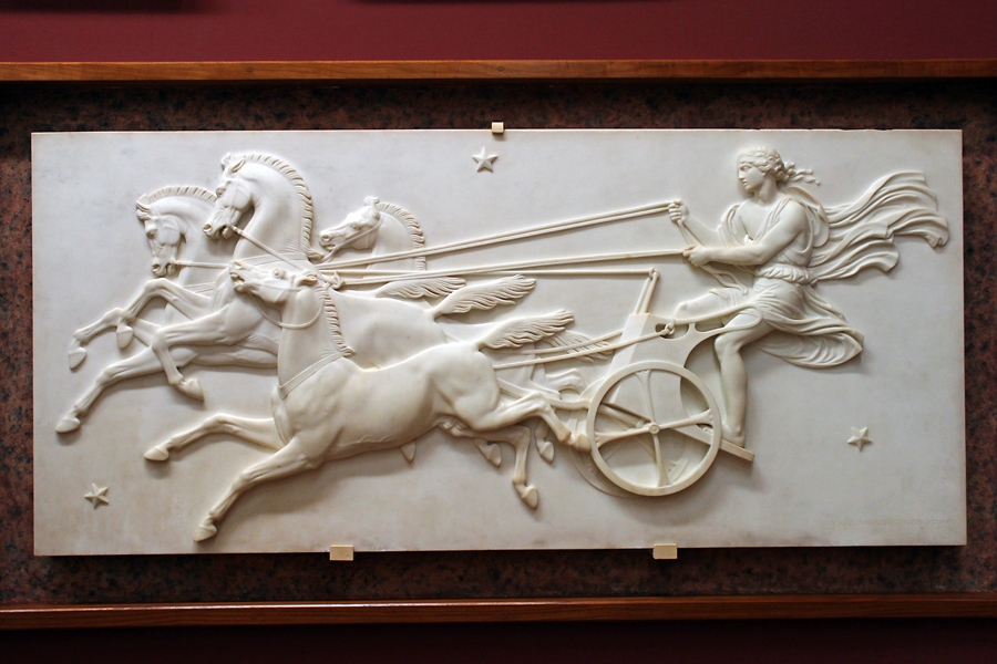 Phaeton rides his chariot to the sun. Sculpted by John Gibson circa 1848.