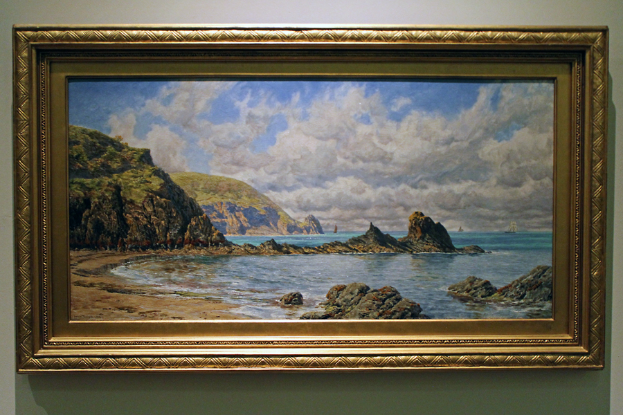 Another impressive landscape by Welsh painter John Brett captures 'Forest Cove, Cardigan Bay'. 1883