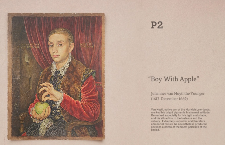 Boy with Apple, the much sought after classic painting which serves as the film's key item of desire and through which all the characters are connected.