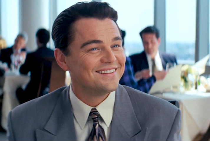Leonardo DiCaprio as Jordon Belfort; The Wolf of Wall Street.